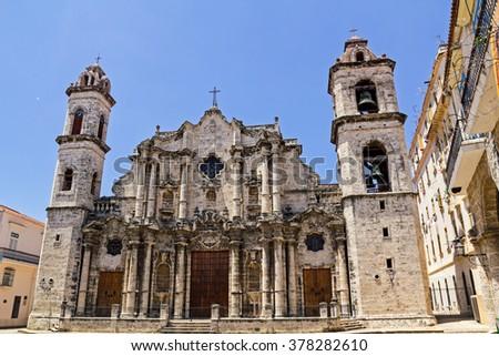 The Cathedral de San Cristobal de La Havana, in Havana, Cuba. It was constructed by Jesuits (1748-77) on the site of an earlier church - stock photo