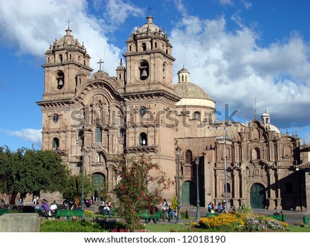 The Cathedral in Cusco, Peru, the ancient capital of the Incas - stock photo