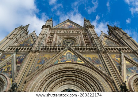 The Cathedral in Orvieto, Italy - stock photo