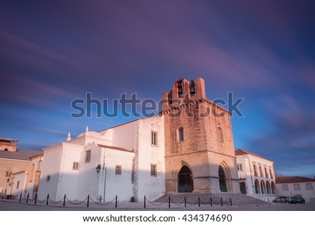 The Cathedral of Faro Se de Faro is a Roman Catholic cathedral in Faro, Portugal - stock photo
