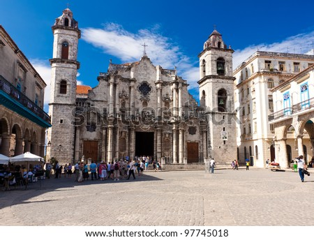 The Cathedral of Havana, a famous religious and touristic landmark in Cuba - stock photo