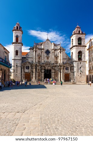 The Cathedral of Havana on a beautiful day with a clear blue sky - stock photo