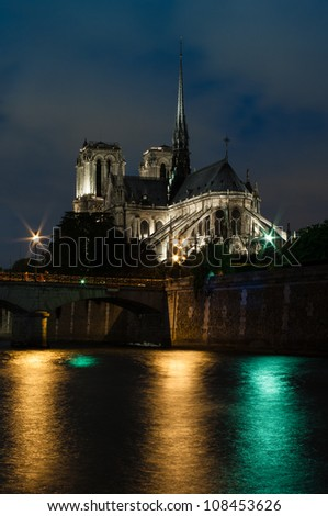 The Cathedral of Notre dame in Paris at dusk