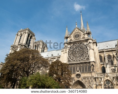 The cathedral of Notre Dame in Paris . France  - stock photo