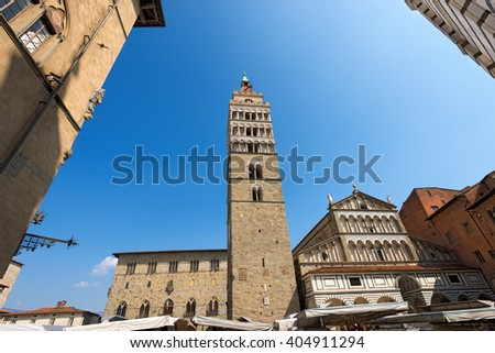 The Cathedral of San Zeno (St. Zeno) X century and town hall in Piazza Duomo (Cathedral square). Pistoia, Tuscany, Italy - stock photo