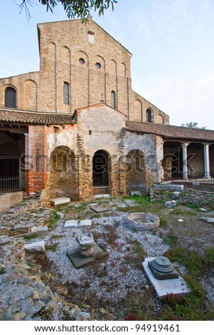 The Cathedral of Santa Maria Assunta found on the island of Torcello in Venice, Italy - stock photo