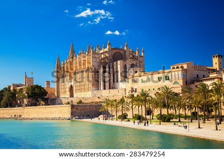 the Cathedral of Santa Maria of Palma and Parc del Mar near, Majorca, Spain - stock photo