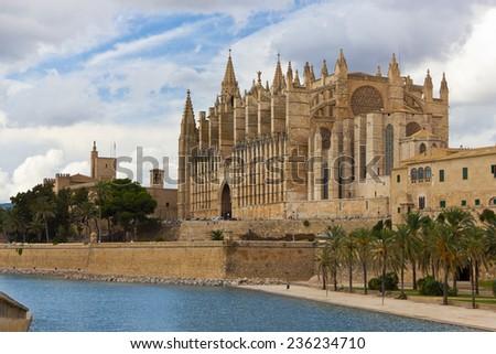 The Cathedral of Santa Maria of Palma de Mallorca, La Seu, Spain - stock photo
