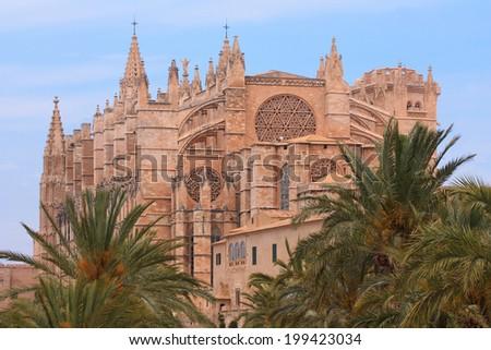 The Cathedral of Santa Maria of Palma or La Seu cathedral in Palma de Mallorca - stock photo