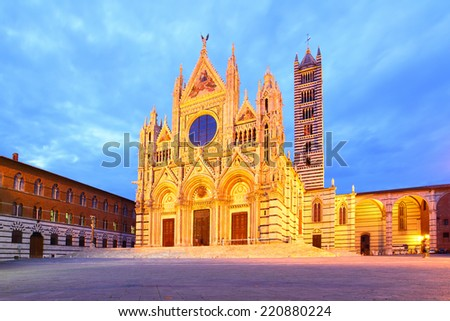 The Cathedral of Siena (Duomo di Siena) at night, Italy - stock photo