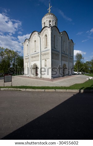 The cathedral of St. Demetrius in Vladimir, XII'th century - stock photo