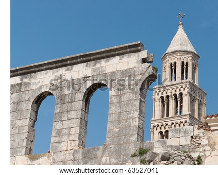 The Cathedral of St Domnius in the old town of Split - stock photo