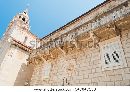 The cathedral of St Marco in the center of Korcula city in Croatia - stock photo
