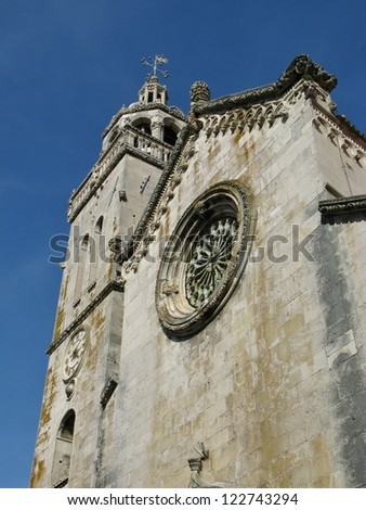 The cathedral of St Marco in the center of Korcula city in Croatia is a gothic renaissance building