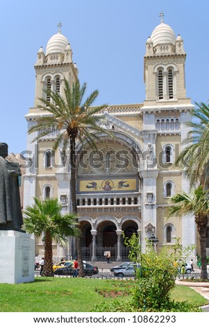 The Cathedral of St Vincent de Paul is a Roman Catholic cathedral in Tunis. - stock photo
