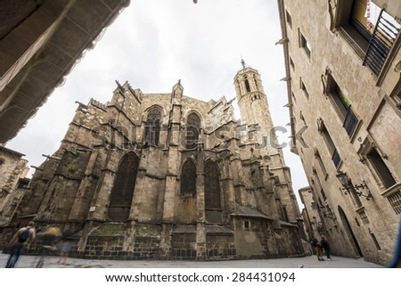 The Cathedral of the Holy Cross and Saint Eulalia, also known as Barcelona Cathedral, is the Gothic cathedral and seat of the Archbishop of Barcelona,  - stock photo