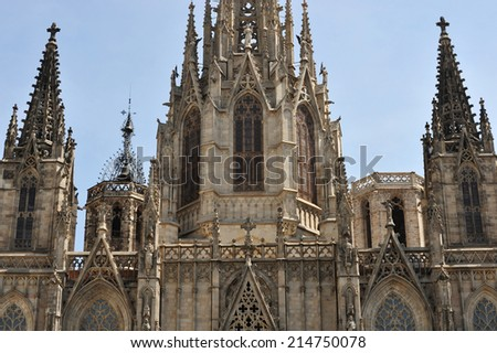 The Cathedral of the Holy Cross and Saint Eulalia. The Gothic cathedral of Barcelona. - stock photo