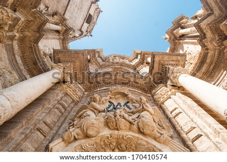 The Cathedral Of Valencia. This is the entrance door.  - stock photo