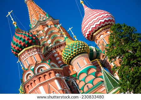 The Cathedral of Vasily the Blessed, commonly known as Saint Basil's Cathedral, is a former church in Red Square in Moscow, Russia. A world famous landmark. - stock photo