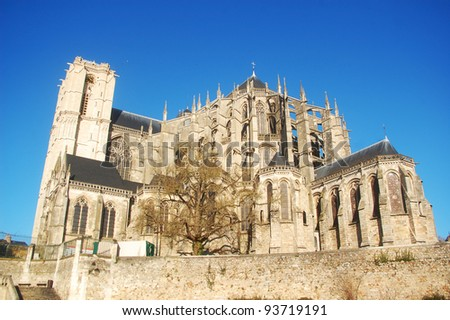 The cathedral St. Julien from Le Mans, France. - stock photo