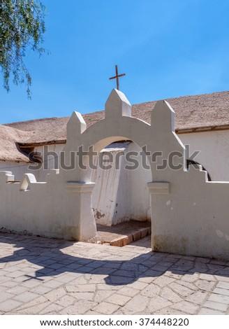 The Catholic Church in San Pedro de Atacama - Chile, Latin America - stock photo