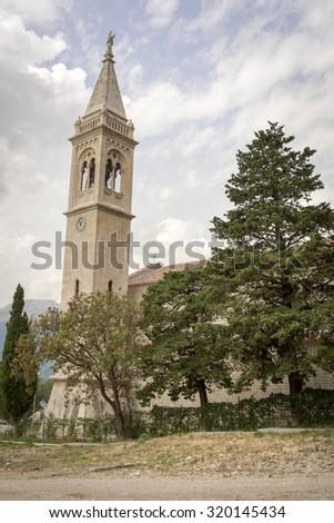 The Catholic Church Saint Eustache, Dobrota. the Bay of Boka Katorska, Montenegro - stock photo