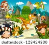 The cavemen - stone age - illustration for the children - stock photo