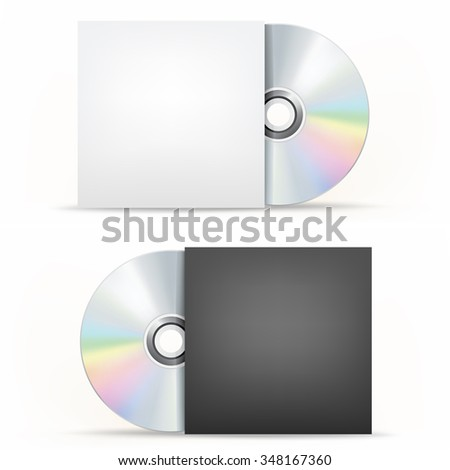 The CD-DVD disc and paper case on the white background - stock photo