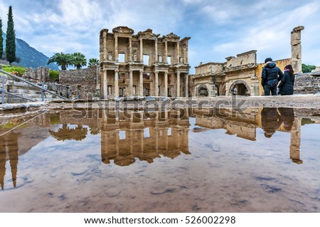 The Celsus Library of Ephesus Ancient City in Rainy Day