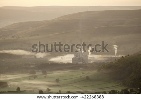 The cement works in the Hope valley on a misty morning.