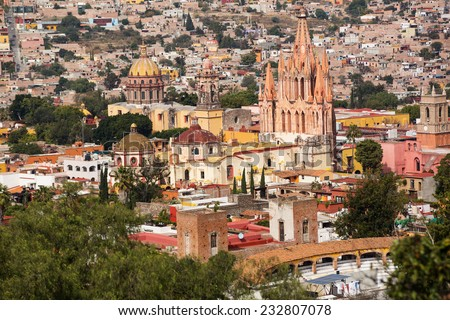 the center of San Miguel de Allende, Guanajuato, Mexico, seen from above  - stock photo