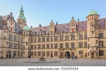 The Central area inside the complex Kronborg Castle, Helsingor (Elsinore), Denmark - stock photo