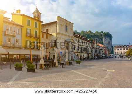 The central area of the city of Arona in Italy