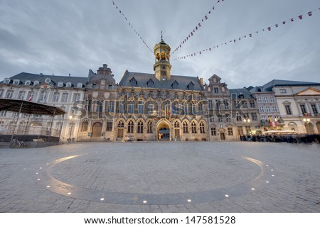 The central square and town hall in Mons, capital of the Wallonian province of Hainaut in Belgium. - stock photo