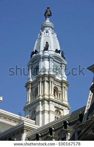 The central  tower of City Hall in Philadelphia - stock photo