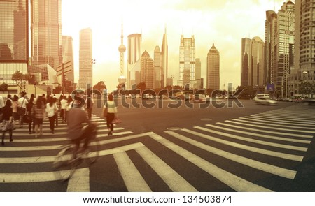The century avenue of  street scene of people walking hurriedly in shanghai Lujiazui,China. - stock photo