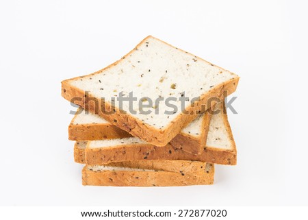 the cereal and black sesame bread on white background - stock photo
