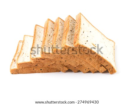 the cereal and black sesame bread on white background
