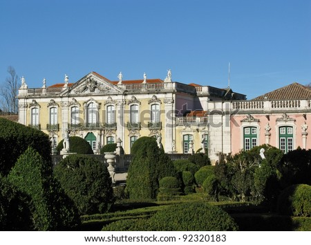 The ceremonial facade of the corps de logis and the ballroom wing of the Queluz palace in Portugal - stock photo