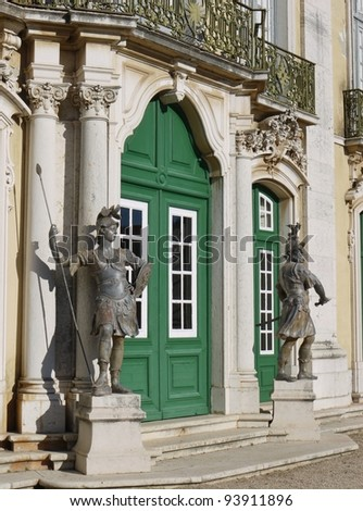 The ceremonial facade of the corps de logis of the Queluz national palace in Portugal - stock photo