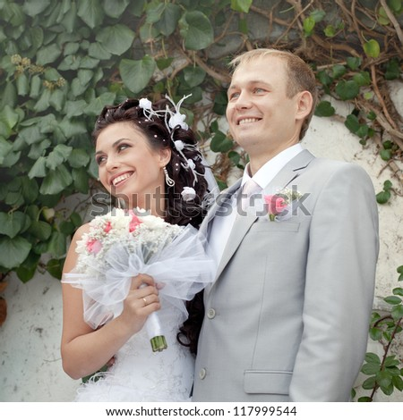 The ceremony of marriage.  Just married in day of them wedding - stock photo