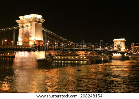 The Chain bridge illuminated by night, Budapest, Hungary - stock photo