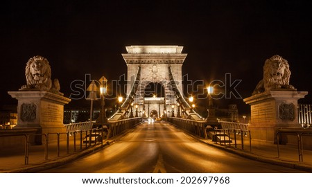The Chain Bridge in Budapest, Hungary at night  - stock photo