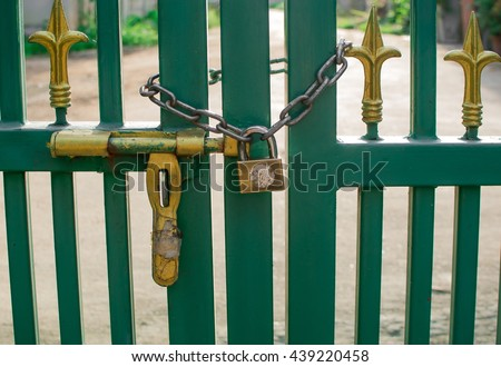 The chain lock and master key at the iron gate.