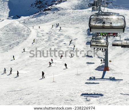 The chair lifts of Zell am See - Kaprun ski region in Austria  - stock photo