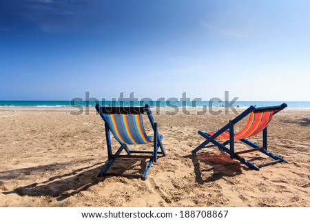 the chair on the beach sleep in holiday