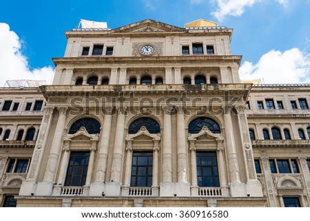 The Chamber of Commerce building in Old Havana, Cuba. The building also served as the stock exchange in the Cuban capital until the 1959 Revolution - stock photo