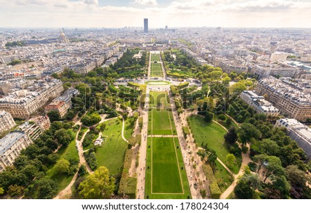 The Champ de Mars in Paris. View from the Eiffel Tower.