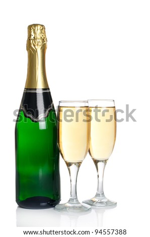 The champagne  isolated on a white background - stock photo