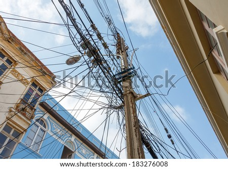 The chaos of cables and wires in Valparaiso - Chile - stock photo